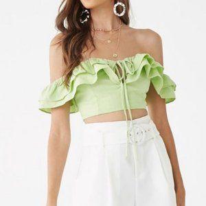 Lime Green Linen Ruffled Off the Shoulder Crop Top